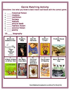 In this activity, students use what they know about the different genres and their characteristics to match books with the appropriate genre based on evaluating the book title and cover.Students exercise their knowledge of fiction and nonfiction genres, such as historical fiction, biographies, mysteries, fantasies, poetry, and science fiction.Great for review or to gauge student knowledge prior to a genre unit or study.