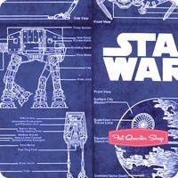 Star wars cotton fabric 44 blueprint fabrics star wars blue empire blueprint yardage malvernweather Gallery