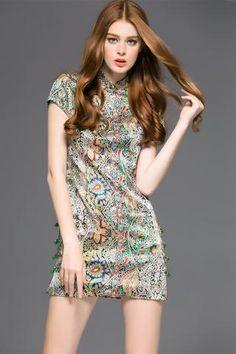 2016 New Arrival Printed Beading Summer Dress Silk Cheongsam