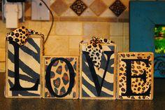 Custom home decor LOVE block set with ribbon and crystals. $37.99, via Etsy.