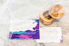 bright watercolor invitation - photo by L Martin Wedding Photography http://ruffledblog.com/backyard-florida-wedding-with-cobalt-bridesmaid-dresses