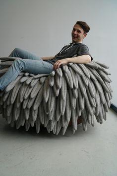 Carl Durkow, décoration, design, mobilier, nid d'oiseau, pouf, siège à bascule