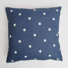 "Blue Star Pillow Cover, Star Cushion Cover, Stars Decorative Pillow Cover, Denim Blue Cotton  Size 14"", 16"", 17, 18"", 20"", 22"", 24"" by AllTheTrimmingsUK on Etsy https://www.etsy.com/uk/listing/225113792/blue-star-pillow-cover-star-cushion"