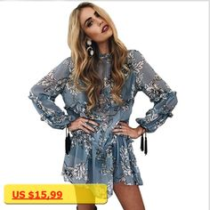 bohemian floral print tassel women chiffion dress spring summer ruffle beach casual dress Vintage loose mini dress vestidos