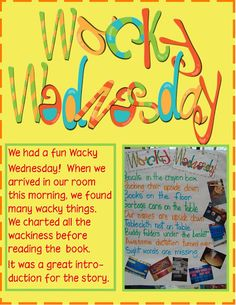 Fun idea using Dr. Seuss's book Wacky Wednesday.