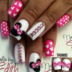 Pink minnie mouse nails crystals nails nails, mickey mouse n Minnie Mouse Nails, Mickey Mouse Nails, Pink Minnie, Disney Nail Designs, Acrylic Nail Designs, Nail Manicure, Toe Nails, Mickey Mouse Nail Design, Disneyland Nails