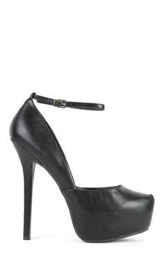 SugarPair Black Faux Leather Platform Pumps with Ankle Strap $18.00