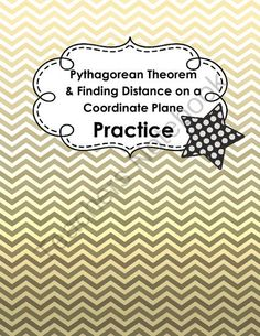 Pythagorean Theorem and Distance on the Coordinate Plane Practice from Coats Math Closet on TeachersNotebook.com -  (6 pages)  - 14 questions that can be used as a quick and basic assignment to assess if your students can use the Pythagorean Theorem and if they are able to use it with points on a coordinate plane.