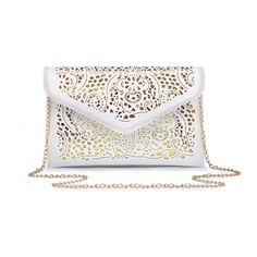 adb08e051d0b Persella Cut Out Gold Chain Crossbody Flap Envelope Clutch Wallet Shoulder  Purse Bag