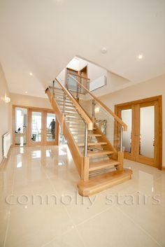Oak Open Riser Steel Glass Stairs in Ireland:oak open riser with s.steel and glass Timber Staircase, House Staircase, Oak Stairs, Glass Stairs, Staircase Remodel, Staircase Makeover, Steel Stairs, Staircase Ideas, Floating Stairs