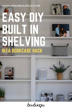 How to build a beautiful DIY IKEA Shelf idea for the library or office, using the IKEA Billy Bookcase Hack #shelving #library #office #workfromhome #ikea #billy Diy Built In Shelves, Home Decor Shelves, Ikea Shelves, Diy Shelving, Office Shelving, Diy Interior Furniture, Diy Furniture Plans, Family Room Decorating, Decorating Ideas