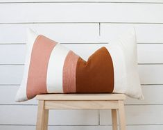 Blush + Umber Raw Silk Lumbar Pillow