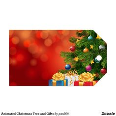 Animated Christmas Tree and Gifts Pack Of Gift Tags