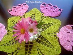 PINK ROSE CROCHET /: Toalhinha com Flor Tulipas Rosa - Crochet Tulips Doily