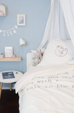A look at the nursery (and it& blue! Nursery Modern, Nursery Neutral, Baby Room Shelves, Fairytale Bedroom, Blue Bedroom, Baby Room Decor, Nursery Themes, Bedroom Inspo, Contemporary Interior
