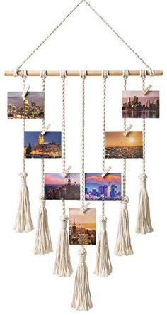 Mkono Hanging Photo Display Macrame Wall Hanging Pictures Organizer Boho Home Decor, with 25 Wood Clips title: Mkono Hanging Photo Display Macrame Wal Photo Wall Hanging, Hanging Pictures, Wall Pictures, Collage Pictures, Display Pictures, Collage Ideas, Wall Collage, Diy Foto, Deco Nature