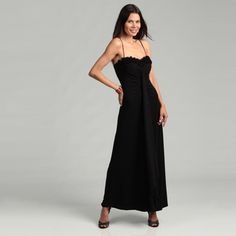 @Overstock - Add modern flare to your wardrobe with this eye-catching gown from Onyx Nites, highlighting a comfortable polyester-blend construction. Ruffle neck detailing and spaghetti straps make this gown a stand-out piece.http://www.overstock.com/Clothing-Shoes/Onyx-Nite-Womans-Rosette-Spaghetti-Strap-Gown/6459307/product.html?CID=214117 $30.95
