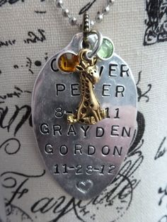 CUSTOM Stamped Vintage SPOON NECKLACE  with Childs name by bling33, $30.00