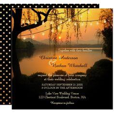 Sunset Lake View String Lights Wedding Invitation #stringlights #sparklelights #rusticwedding #weddinginvitation #outdoorwedding