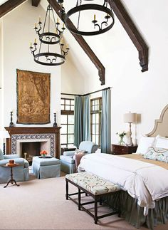 Luxury Master Suite :: Nicely detailed beams and brackets at vaulted ceiling