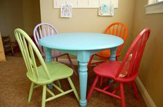 Tables Painted Furniture Ideas With Colorful Chairs