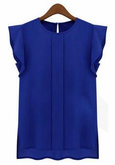 Blue Falbala Round Neck Puff Sleeve Chiffon Blouse