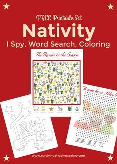 Free Nativity coloring page printable with I Spy math worksheet and word search - all with a nativity scene theme! Great holiday activity during class or parties at school and church to keep the kids busy.