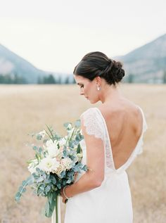 Elegant bride: http://www.stylemepretty.com/2017/02/09/romantic-montana-ranch-wedding-with-to-die-for-views/ Photography: Orange Photographie - http://orangephotographie.com/