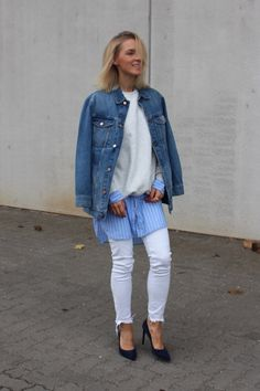 Blogger Style l Anna Borisovna: denim jacket x sweatshirt x extra-long button-down x white skinny jeans x heels