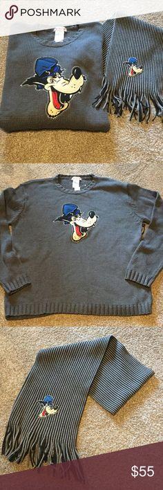 New Men's Disney sweater & scarf New Men's grey Disney store character sweater and scarf. Disney Sweaters Crewneck