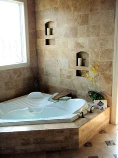 Master bath recessed soaker tub with waterfall faucet  (JensenQualityHomes.com)