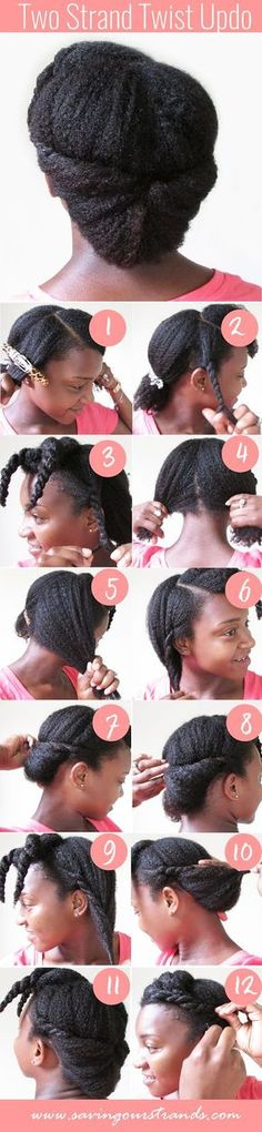SavingOurStrands Celebrating Our Natural Kinks Curls & Coils: [Tutorial] Two Strand Twist Updo For Natural Hair - Natural Hair Styles Pelo Natural, Natural Hair Updo, Natural Curls, Natural Hair Care, Natural Hair Styles, Two Strand Twist Updo, Cabello Afro Natural, Twisted Hair, Scene Hair