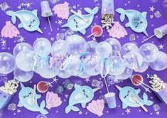 """Narwhal Narwhale Whale Purple 40/"""" Foil Balloon Girls Birthday Party Decoration"""