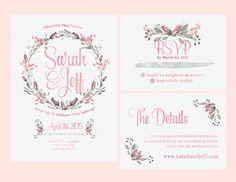Printable Wedding Invitation Set |  RSVP and info card | Pink Rose Wedding invite