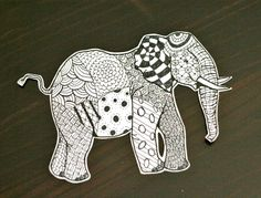 Zentangle elephant project for kids. makeandtakes.com