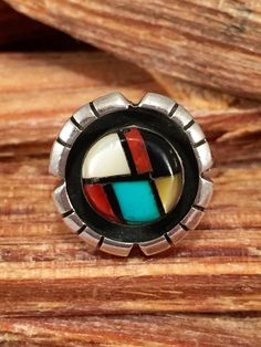 Zuni Turquoise Red Coral Ring Sz 6.5 Jet MOP Pearl by 22toddities