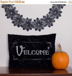 25% OFF FLASH SALE Velcome Funny Halloween Pillow with Insert Vampire Welcome Greeting Embroidered Black Velvet 12 x 16 by BubbleGumDish on Etsy https://www.etsy.com/listing/161841549/25-off-flash-sale-velcome-funny
