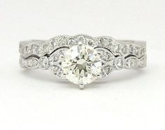 Round Antique Diamond Engagement Ring And Band Engagement Band Is Beautiful But Absolutely Hate The Wedding Band