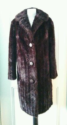 Dunbar dark brown 1970's vintage faux fur winter coat size 12