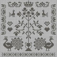 Perinteinen elämänpuu ja kodin onnea symboloivia kuvioita. Kokonaisuutena melko työläs, mutta siitä voi poimia vain joitain kuvioita. Esimerkiksi riikinkukko olisi yksinäänkin hieno, tai kruunu.