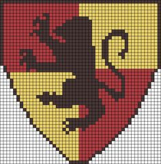 Gryffindor House Harry Potter perler bead pattern by taylor Harry Potter Gryffindor, Harry Potter Quilt, Theme Harry Potter, Hogwarts, Cross Stitch Harry Potter, Harry Potter Crochet, Harry Potter Perler Beads, Estilo Geek, Art Perle