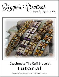 Tutorial ~ Czechmate Tile Cuff Bracelet by Reggie's Creations ~ Beaded Bracelet Pattern ~ Bead Packs Available in Listing by SupplyEmporium