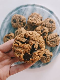 Healthy Oatmeal Peanut Butter Chocolate Chip Cookies - No Added Sugar - Gimme The Lo Down Chocolate Chip Cookies, Peanut Butter, Oatmeal, Sugar, Baking, Healthy, Sweet, Desserts, Food