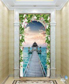 3D Pier Sea Jetty Arch Flower Vine Entrance Wall Decal Mural Art Prints 003