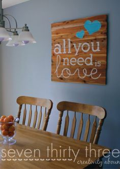 Add a pretty piece of wall art to your dining room or bedroom by making this cedar plank sign. Use your favorite quote for a look that is totally personal.