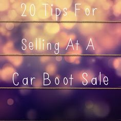 I thought that considering I really like going to car boot sales and I've also sold my items at them before I would give you some tips i...