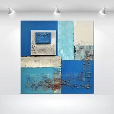 xxl large abstract painting urban blue grey by EttisGallery
