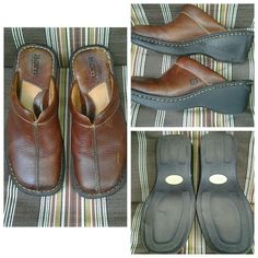 Born Clogs in Brown Leather These clogs are in good pre owned condition, there is a mark/slight tear in side black sole, see second picture (not noticeable when worn nor does it affect use of shoe)  Medium brown color leather, has an intentional distressed look to leather, see pictures  Size 6 Born Shoes Mules & Clogs