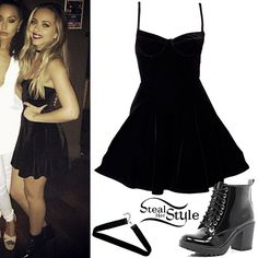 Jade Thirlwall posed with her bandmates wearing an American Apparel Velvet Underwire Bustier Skater Dress ($68.00), a velvet choker similar to this from Boohoo ($5.00) and a pair of River Island Patent Lace Up Block Heel Ankle Boots (Sold Out).