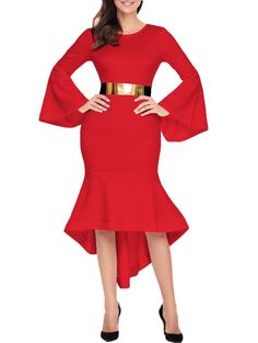 SHARE & Get it FREE   High Low Bell Sleeve Belted DressFor Fashion Lovers only:80,000+ Items • New Arrivals Daily • Affordable Casual to Chic for Every Occasion Join Sammydress: Get YOUR $50 NOW!